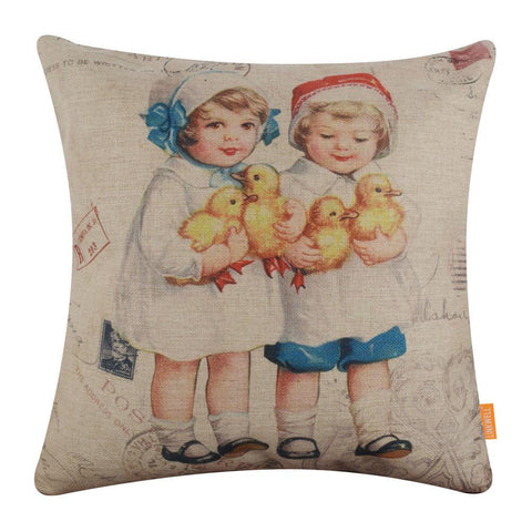 Image of Vintage Postcard Easter Pillow Cover 18x18