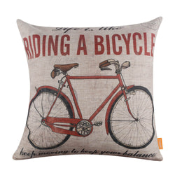 Vintage Red Bicycle Pillow Cushion Cover