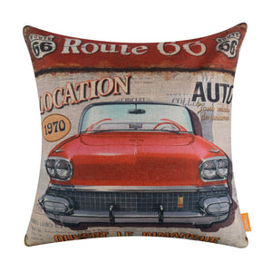 Vintage Red Car Pillow Cover for Man Cave