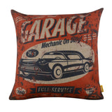 Vintage Red Garage Cheap Pillow Cover