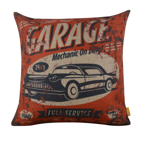 Image of Vintage Red Garage Cheap Pillow Cover
