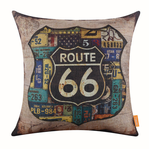 Vintage Route 66 Car Plate Pillow Cover