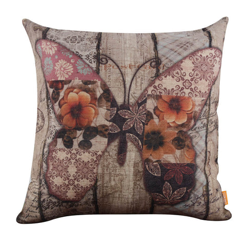 Image of Vintage Style Red Beautiful Butterfly Pillow Cover