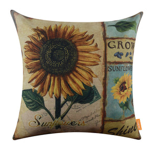 Vintage Sunflower Yellow Pillow Cover on Sale