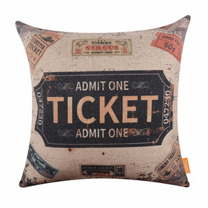 Vintage Ticket Pillow Cover