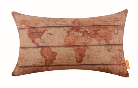 Vintage World Map Waist Cushion Cover