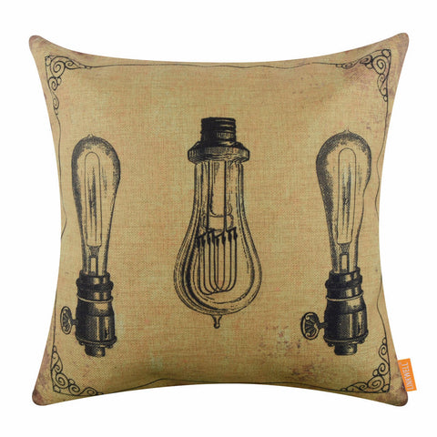 Vintage Yellow Bulb Patent Pillow Cover