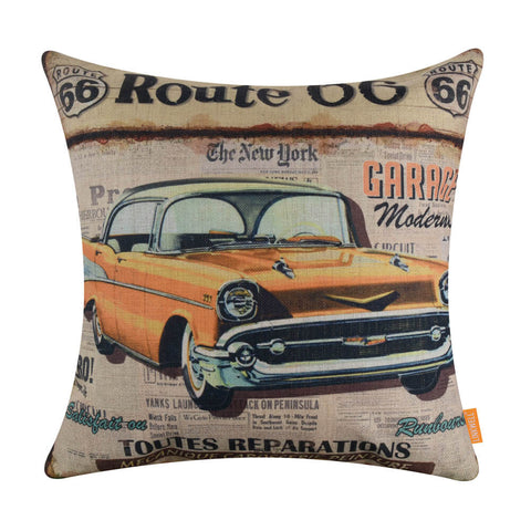 Vintage Yellow Car Cushion Cover for Boy Room Decor