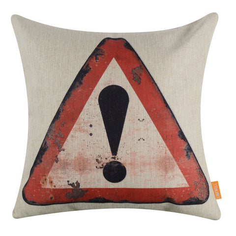 Image of Warning Rusted Traffic Sign Pillow Cover