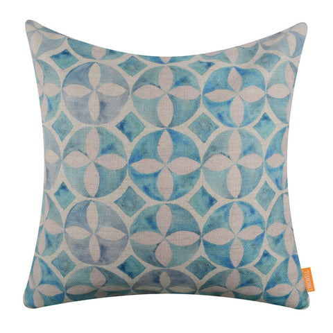 Image of Watercolor Blue Tile Pattern Printed Pillow Cover