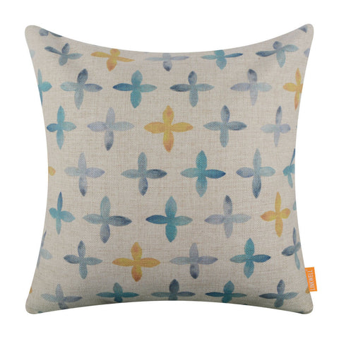 Image of Watercolor Blue and Yellow Cross Pillow Cover