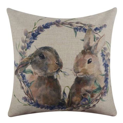 Watercolor Bunny Pillow Cover for Easter Day Decor