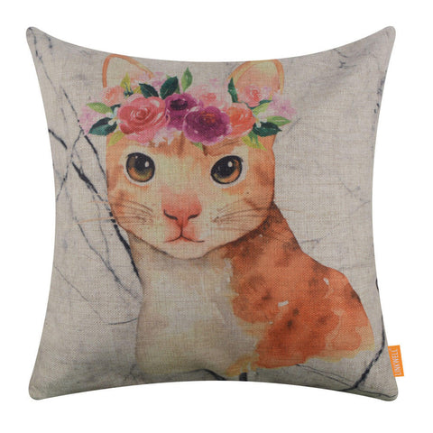 Watercolor Cat with Floral Wreath Cushion Cover