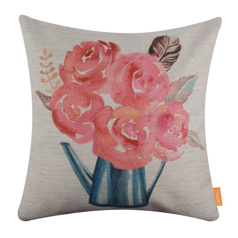 Image of Watercolor Flower Cushion Cover for Easter Decoration