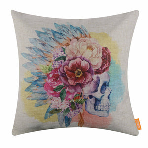 Watercolor Sugar Skull Pillow Cover