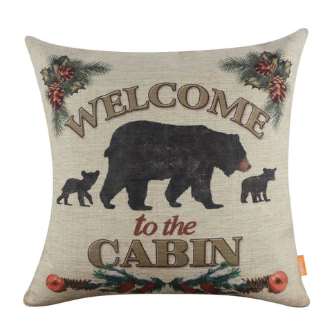Welcome to the Cabin Bear Cushion Cover Man Cave Photo Prop