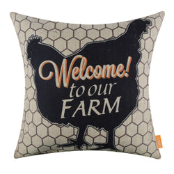 Welcome to the Farm Hen Zippered Couch Cushion Cover