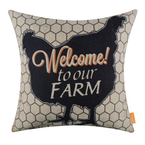 Image of Welcome to the Farm Hen Zippered Couch Cushion Cover