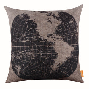 Western Hemispheres World Map Throw Pillow Cover
