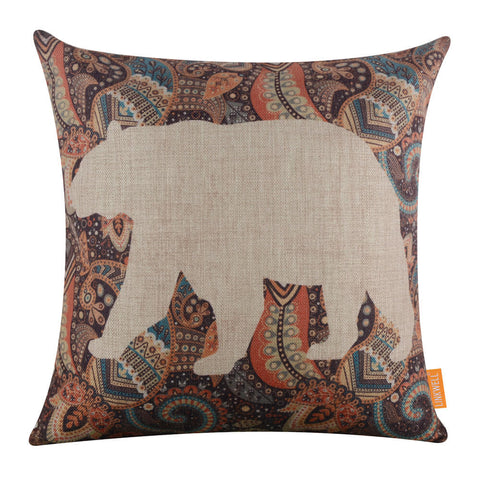 Image of Whiteout Paisley Bear pillow cover