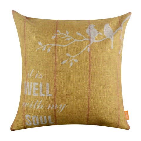 Wood Look Yellow Bird on Tree Pillow Cover