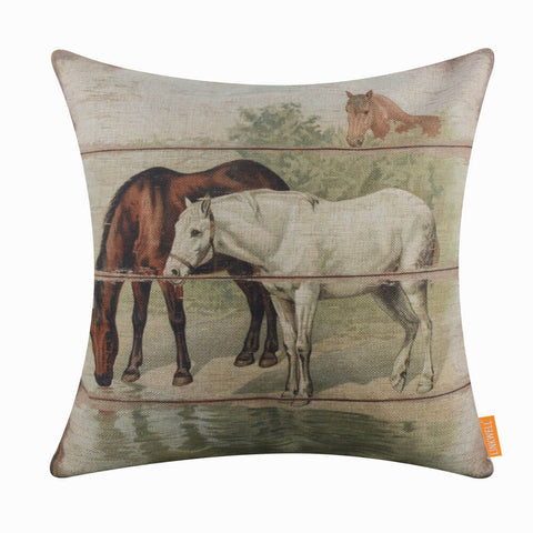 Wood Plank Horse Cushion Cover