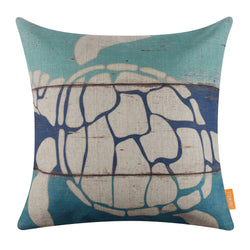 Wood Slat Turtle Navy Blue Throw Pillow Cover