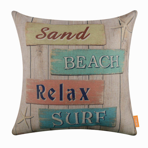 Wooden Beach Sand Pillow Case