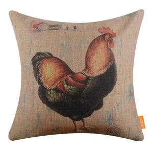 Wooden Rooster Pillow Cover