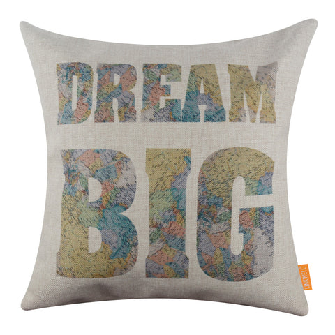 Image of World Map Dream Big Explore Pillow Cover
