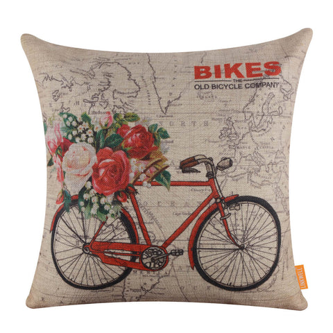 World Map Floral Bike Pillow Cover