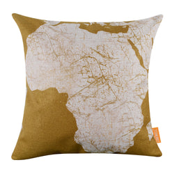 Yellow Africa World Map Square Cushion Cover