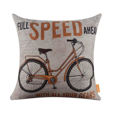 Image of Yellow Bicycle Pillow Cover