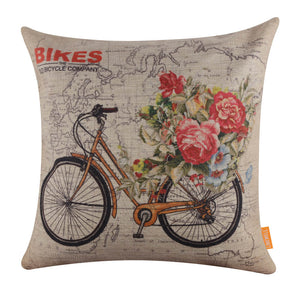 Yellow Bicycle World Pillow Cover