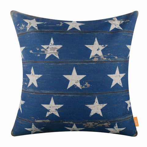 Blue and White Stars Pillow Cover