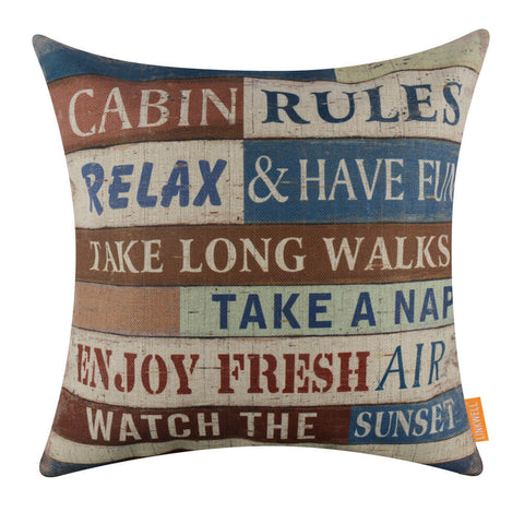 Cabin Rules Throw Pillow Case Covers