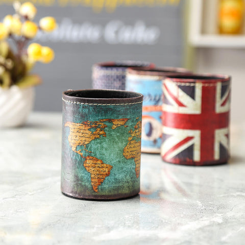 Image of Vintage Blue World Map Pencil Cup Holder