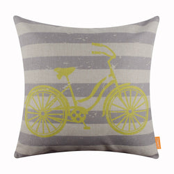Striped Bicycle Pillow Cover