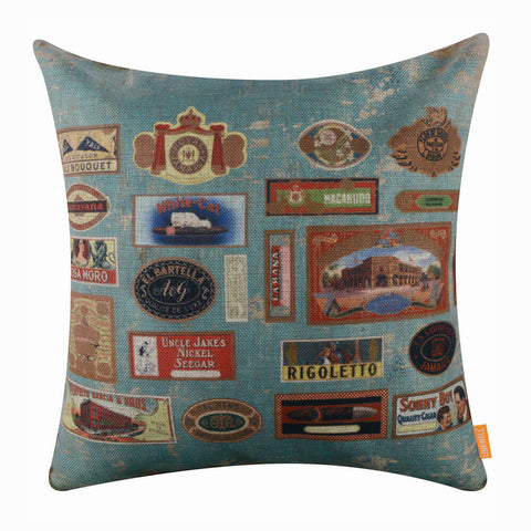 Travel Themed Stamp Decorative Pillow Cover