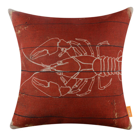 Image of Vintage Lobster Red Decorative Pillow Cover
