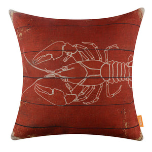 Vintage Lobster Red Decorative Pillow Cover
