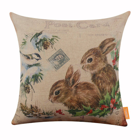 Image of Winter Christmas Rabbit Cushion Cover