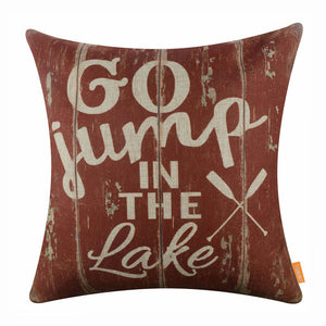 Wooden Lake Pillow Cover
