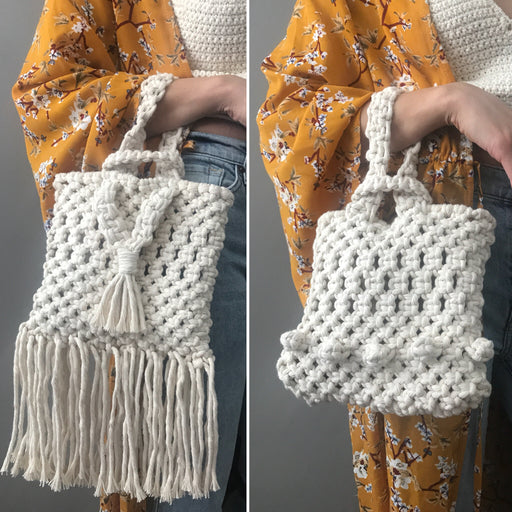 """Lila"" Reversible Loop Sacklet - Macrame Bag Pattern"