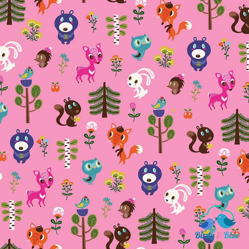Baby Friends Pink (Forest Babes Collection) Premium Cotton Fabric