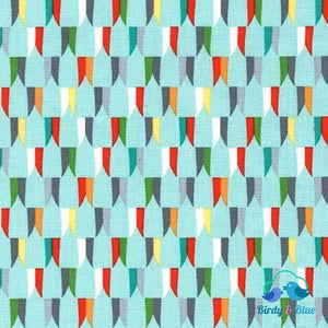 Banner Day Aqua (Good Knight Collection) Premium Cotton Fabric
