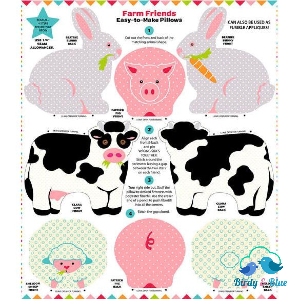 Fabric Panel Farm Friends Snuggle Pillows Premium Cotton