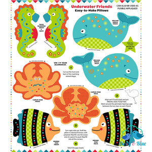 Fabric Panel Underwater Friends Snuggle Pillows Premium Cotton