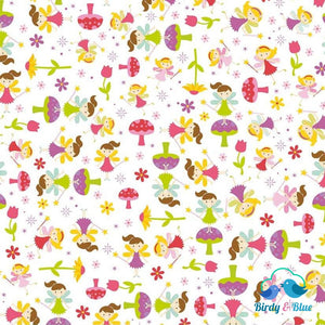Fairy Toss White (Fairy Garden Collection) Premium Cotton Fabric
