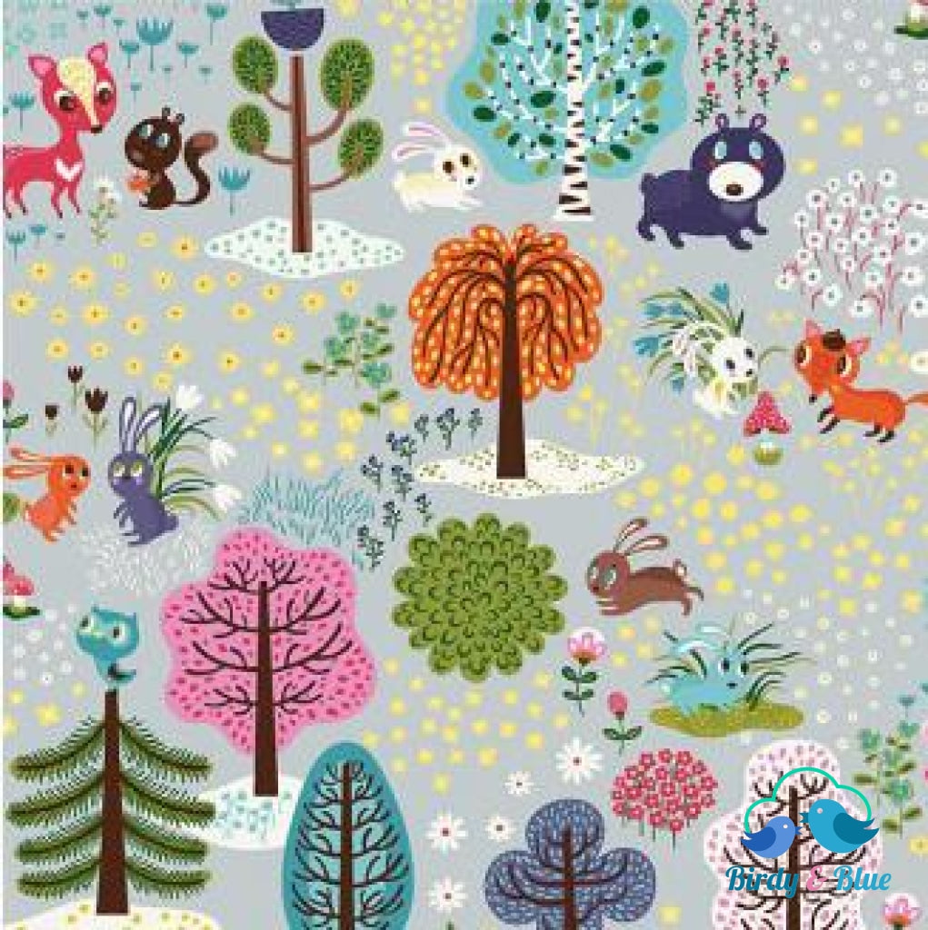 Forest Grey (Forest Babes Collection) Premium Cotton Fabric